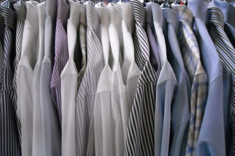 Men's dress shirts lined up